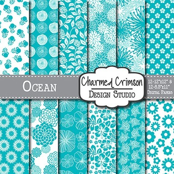 Ocean Blue Floral Digital Paper 1332