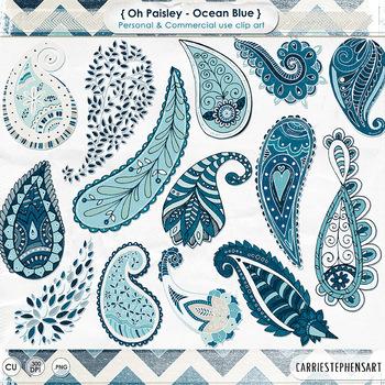 Ocean Blue Paisley Clip Art, Indigo Bohemian Paisley ClipA