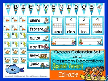 Ocean Calendar Set and Classroom Decorations {Spanish Vers