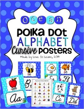 Ocean Cursive Alphabet Posters - Polka Dot