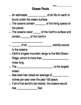 Ocean Facts Worksheet