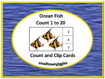 Ocean Fish  Animals Count to 20 Count Clip Task cards numb