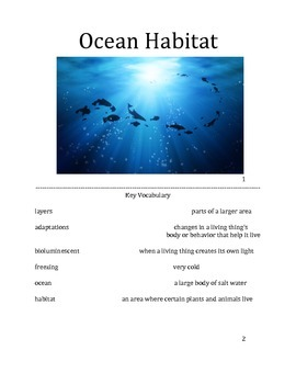 Ocean Habitat, Differentiated for low or non verbal students.