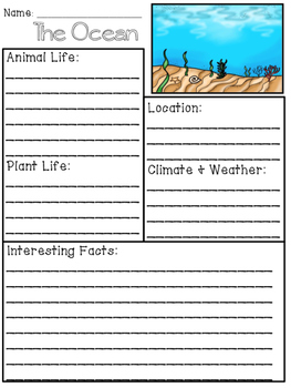 Ocean Habitat Packet