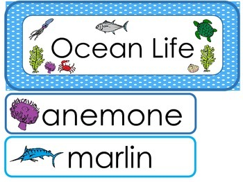 Ocean Life Word Wall Weekly Theme Posters.