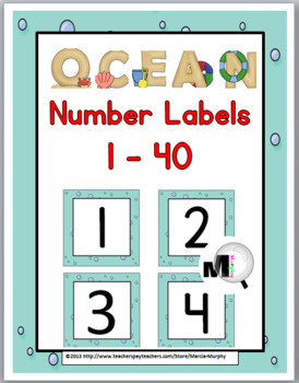 Ocean Theme Number Labels 1 - 40
