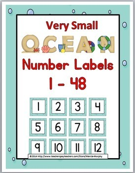 Ocean Theme Number Labels 1 – 48 {Very Small Version}