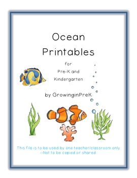 Ocean Printables for Pre-K and Kindergarten