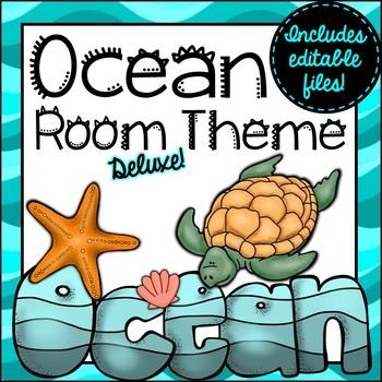 Ocean Room Theme Classroom Decor {Editable}