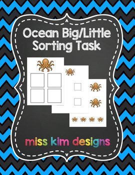 Ocean Sizes Sorting Folder Game for students with Autism