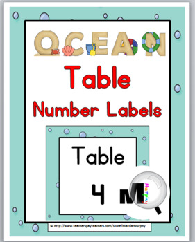 Ocean Theme Table Numbers with Primary Font