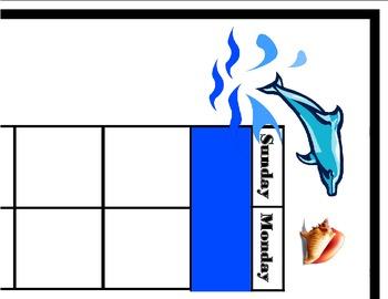 Ocean Calendar Set! Ocean Bulletin Board! Ocean Theme! Oce