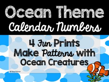Ocean Theme Classroom Decor: Calendar Numbers