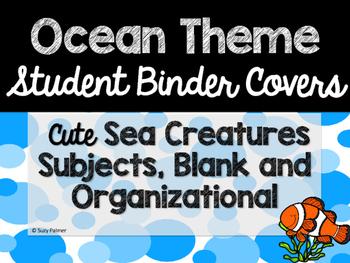 Ocean Theme Classroom Decor: Student Binder Covers