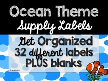 Ocean Theme Classroom Decor: Supply Labels
