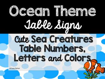 Ocean Theme Classroom Decor: Table Signs
