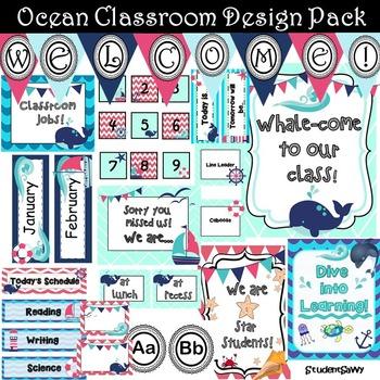 Nautical Classroom Decor (Editable)