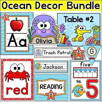 Ocean Theme Classroom Decor Bundle: Teacher's Binder, Name
