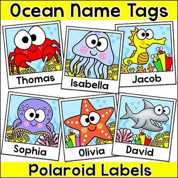 Ocean Theme Polaroid Name Tags Labels - Under the Sea Theme