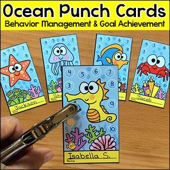 Ocean Theme Punch Cards Behavior Management Tool