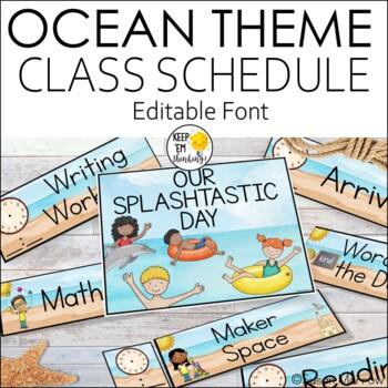 Ocean Theme Schedule Cards - Editable! Ocean Theme Decor