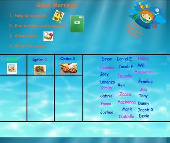 Ocean Theme Smartboard Attendance - 3 lunch options