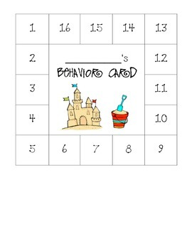 Ocean Themed Behavior Card