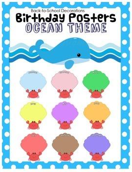 Ocean Themed Birthday Posters