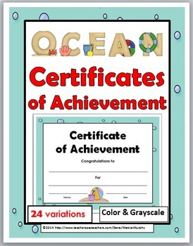 Certificates of Achievement - Ocean Theme