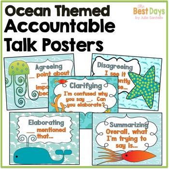 Ocean Themed Classroom Decor: Accountable Talk Posters