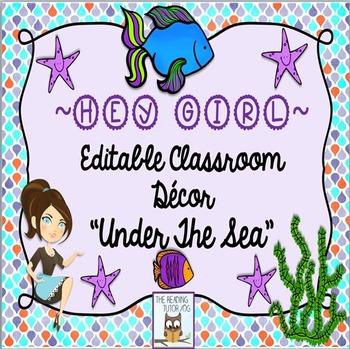 Classroom Decor:  Ocean Theme Editable