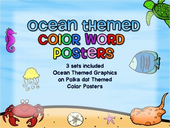 Ocean Themed Color Word Posters - Polka Dots Background