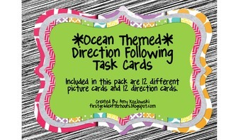 Ocean Themed Direction Following Task Cards