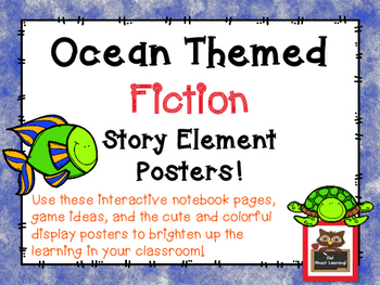 Ocean Themed Fiction Story Element Posters w/Interactive N