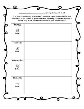 Ocean Themed Homework Chart