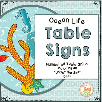 Ocean Life Themed Table Signs