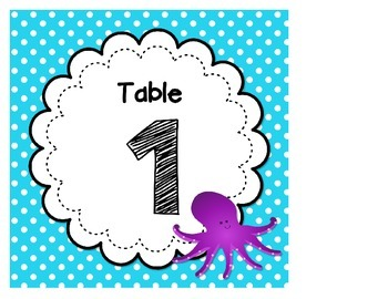 Ocean Themed Table Tags