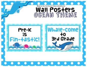 (FREEBIE) Ocean Themed Wall Posters for Pre-K through 5th Grade