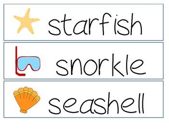 Ocean Themed Word Cards