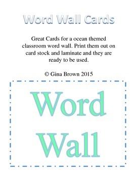 Ocean Themed Word Wall Cards