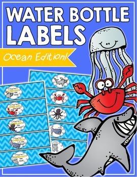 Ocean Water Bottle Labels