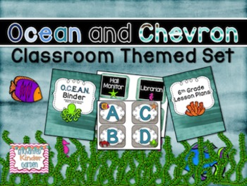 Ocean and Chevron Themed Classroom Set with Editables with