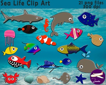 Ocean and Sea Life Clip Art. 21 Png files 300 dpi for Clas
