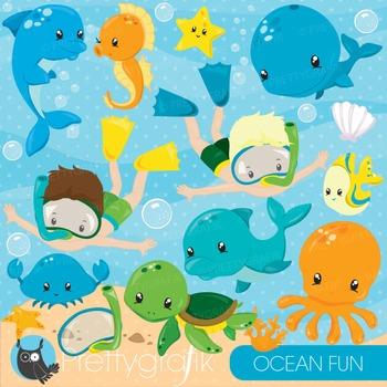 Ocean snorkelling clipart commercial use, graphics, digita