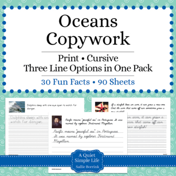 Oceans Unit - Copywork - Print and Cursive - Handwriting