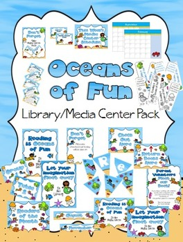 Oceans of Fun Library Media Center Pack {with EDITABLE pas