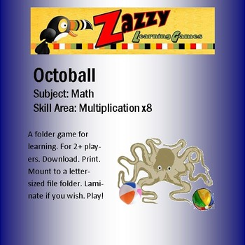 Octoball File Folder Game -- Multiplication x8
