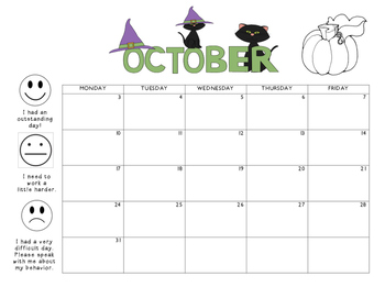 October 2016 Behavior Calendar