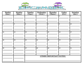 BUNDLED, READY TO GO 8 month calendar (MUST print out to w