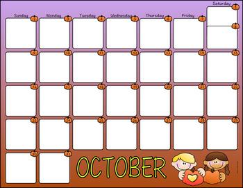 October 2016 Monthly Calendar